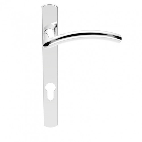 Multi Point Lever Lock Ales Handle Set On Narrow Backplate 220 x 26mm Polished Chrome LH