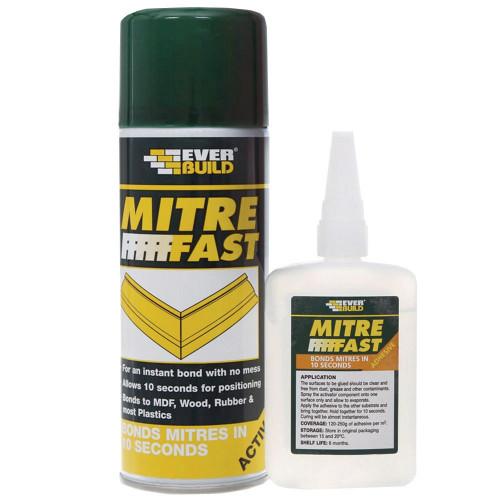 EverBuild Mitre Fast Superglue Kit 50G Glue & 200ml Activator