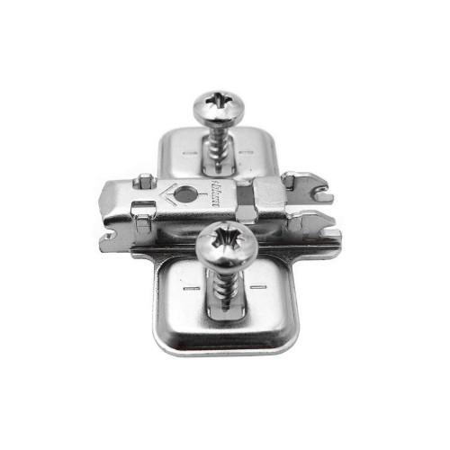Blum Hinge Clip Mounting Plate Cruciform Pressed Steel 1-Part Adjustable c/w Pre-Mount Screws & Expando Dowels 0mm - 173H7100