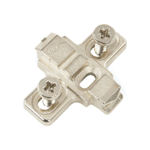 Blum Hinge Clip Mounting Plate Cruciform Diecast 1-Part Adjustable 0mm c/w Pre-Mounted Euro Screws - 175L8100