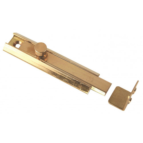 Flat Cupboard Bolt, Polished Brass 60 × 16mm