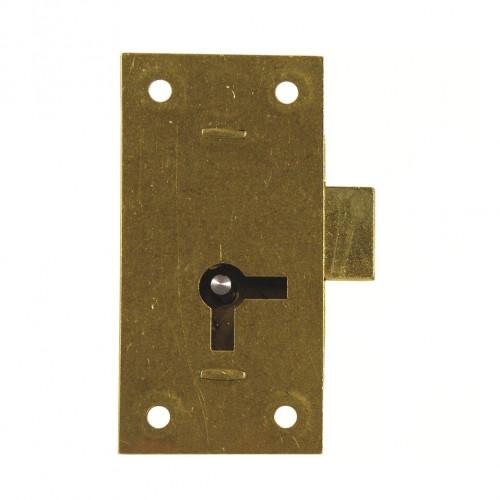 Cupboard Lock Straight Double Handed c/w Key Brass 50 × 25mm