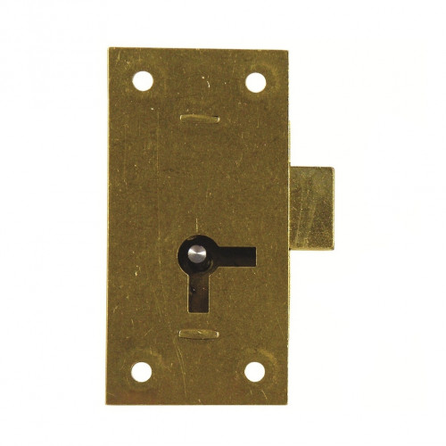 Cupboard Lock Straight Double Handed c/w Key Brass 50 × 25mm