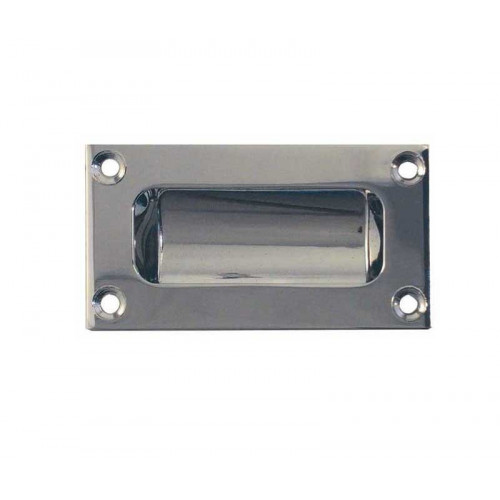 Flush Pull Double Pressed Plate Polished Chrome 89 X 42mm