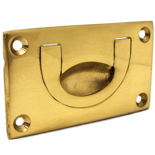 Bow Chest Handle Polished Brass 89 × 45mm