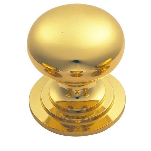 Victorian Knob Solid Polished Brass Diameter 19mm