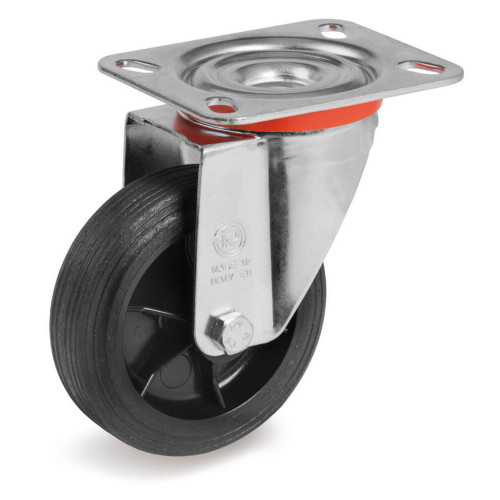 Castor Rubber Tyred Unbraked 50kg Capacity Wheel Diameter 80mm