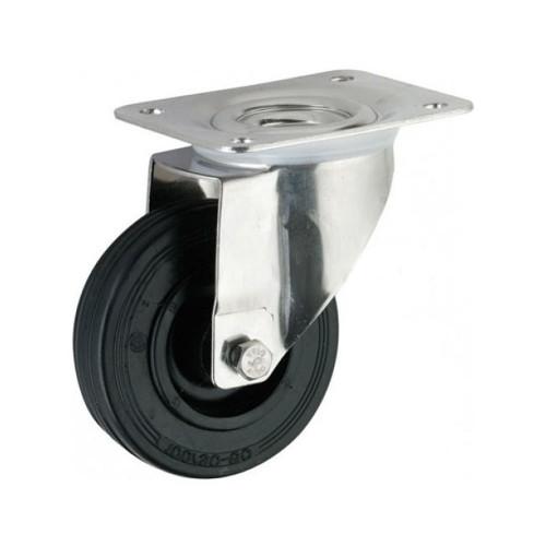 Castor Rubber Tyred Unbraked 140kg Capacity Wheel Diameter 150mm
