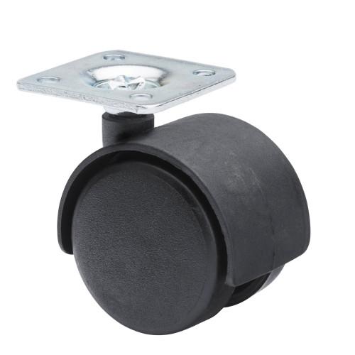 Castor Twinwheel Black Plastic Unbraked 45kg Capacity Wheel Diameter 50mm