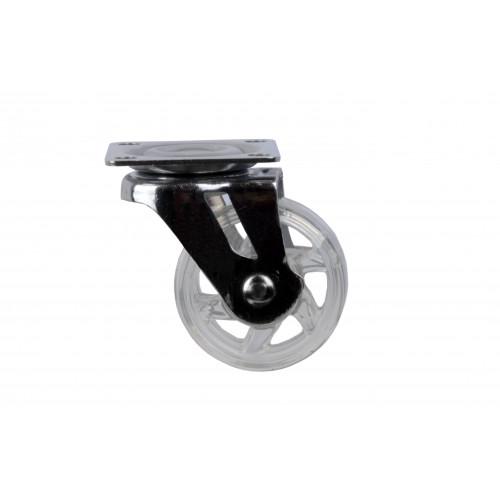 Castor Transparent Wheel Unbraked 40kg Capacity Wheel Diameter 75mm