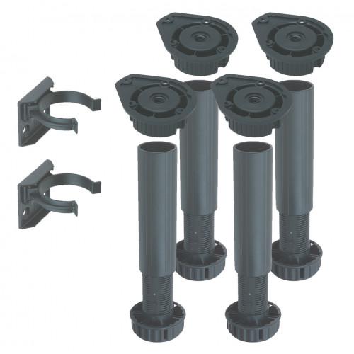 Cabinet Leg Set (4 Legs 4 Fixing Blocks 2 Plinth Clips) Adjustable 100mm