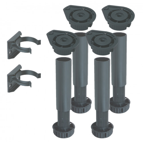 Cabinet Leg Set (4 Legs 4 Fixing Blocks 2 Plinth Clips) Adjustable 150mm