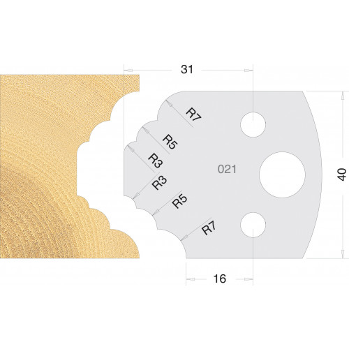 Euro Profile Cutters HSS 40mm Pair No. 021