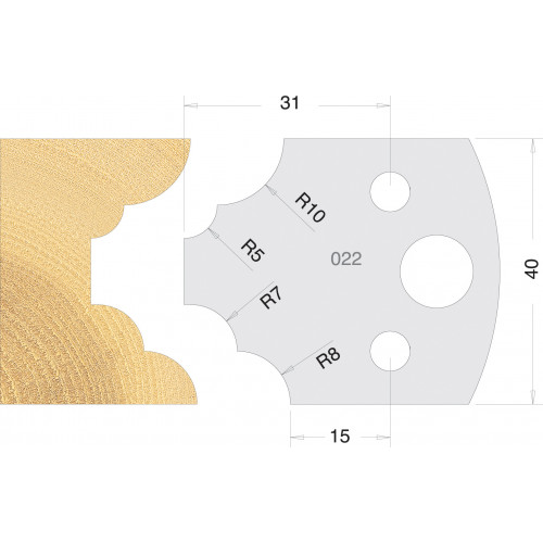 Euro Profile Cutters HSS 40mm Pair No. 022