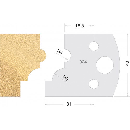 Euro Profile Cutters HSS 40mm Pair No. 024