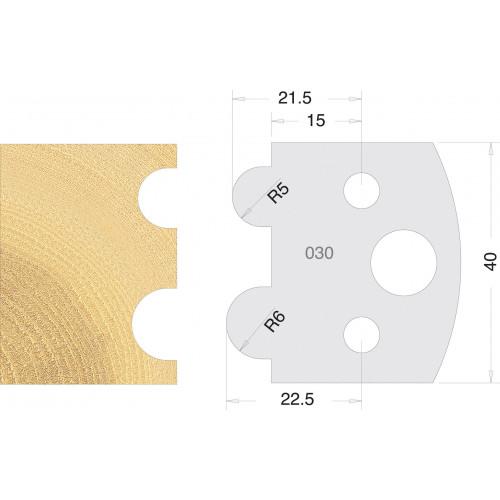 Euro Profile Cutters HSS 40mm Pair No. 030