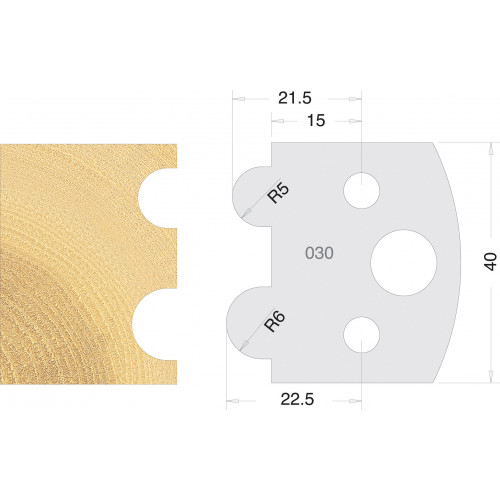 Euro Profile Cutters HSS 40mm Pair No. 030