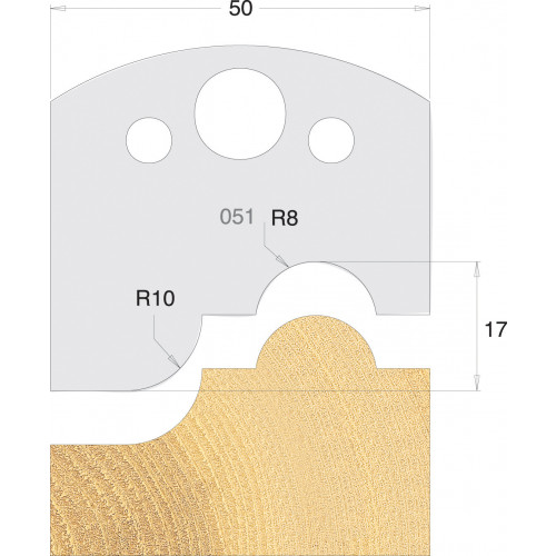 Euro Profile Cutters HSS 50mm Pair No. 051