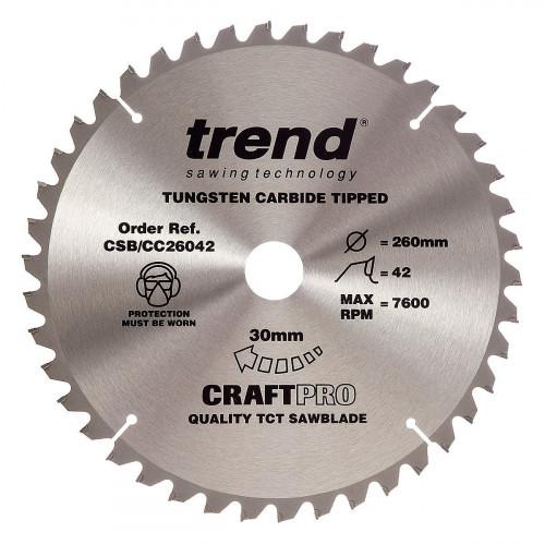 Mitre Saw Blade TCT 260mm Diameter × 42T × 30mm Bore