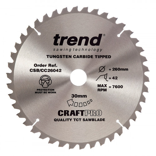 Mitre Saw Blade TCT 260mm Diameter × 42T × 30mm Bore