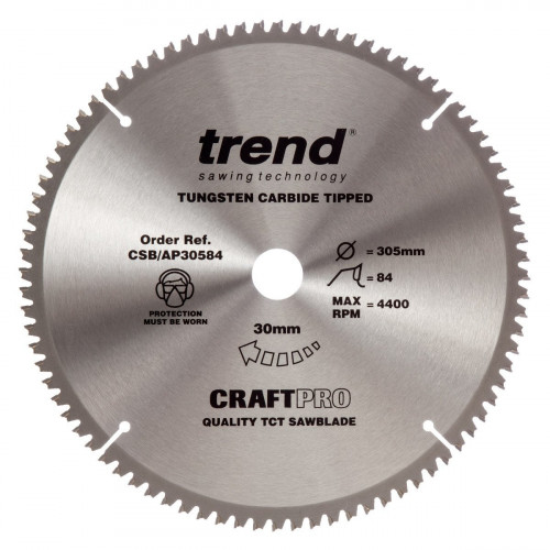 Craft Pro Aluminium Saw Blade TCT 305mm Diameter × 84T × 30mm Bore