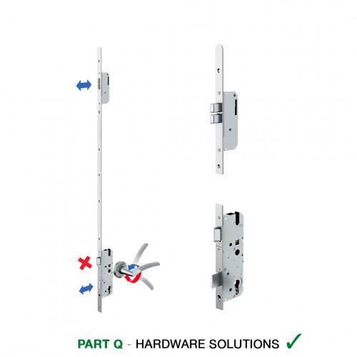 Reliance D11 nightlatch twin deadbolt multipoint lock, LH, 45mm backset c/w adjsutable keeps for upto 44mm doors