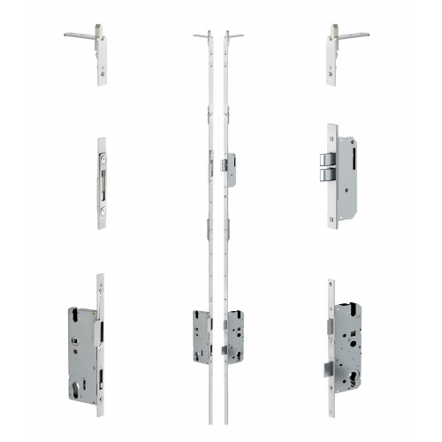 Reliance D30 double door twin deadbolt multipoint lock, LH, 45mm backset, 12mm latchplate, c/w top and bottom shootbolts for slave and master for 2109 - 2161mm high doors