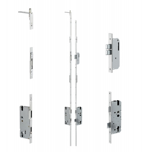 Reliance D31 double door twin deadbolt multipoint lock, LH, 45mm backset, 12mm latchplate, c/w top and bottom shootbolts for slave door only for 1891 - 1964mm high doors