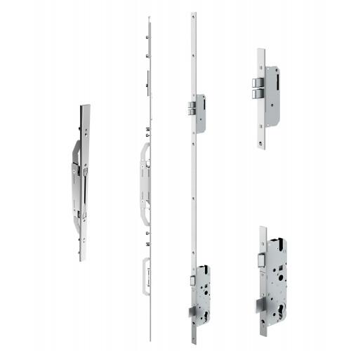 Reliance D40 double door twin deadbolt multipoint lock, LH, 45mm backset c/w adjsutable keeps for top and bottom shootbolts for 1853 - 1996mm high doors