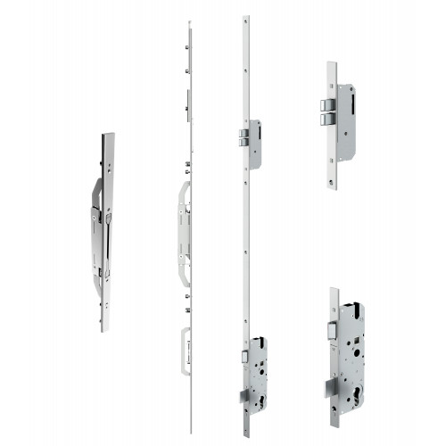 Reliance D40 double door twin deadbolt multipoint lock, LH, 45mm backset c/w adjsutable keeps for top and bottom shootbolts for 1853 - 1996mm high doors