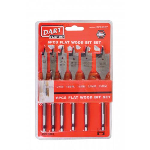 Flat Wood Bit Set Dart 6 pc inc 10,12,16,18,20,25mm