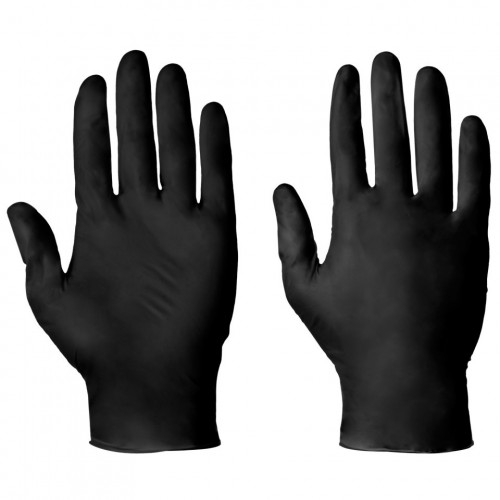 Nitrile Gloves Disposable Black Medium 100pk