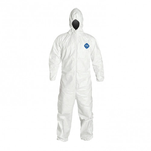 Coverall Tyveck Pro-Tech Hooded Disposable Medium