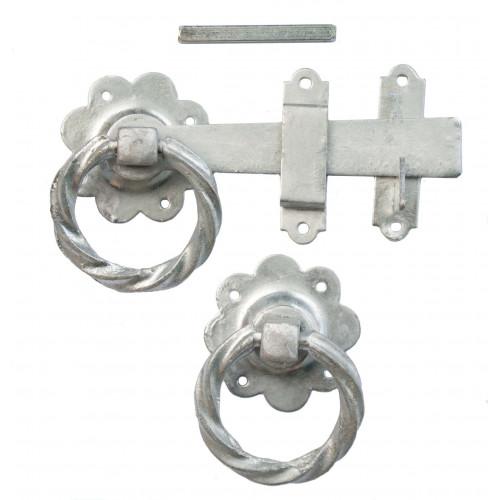 Twisted Ring Gate Latch Black 150mm