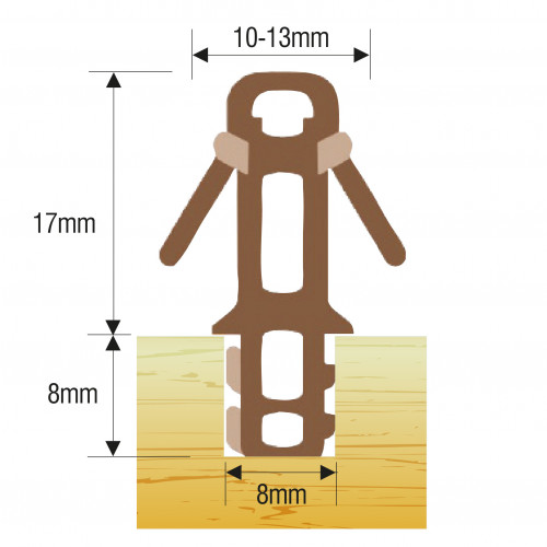 Parting Bead Parflip 12mm Brown 3m
