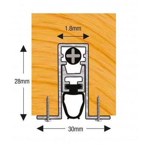 Concealex A1502 Auto Door Drop Seal 1000mm Mill Aluminium