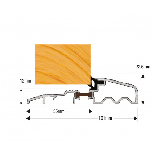 Threshold Thermal Break OUM/2 Outward Opening 1000mm Milled Aluminium