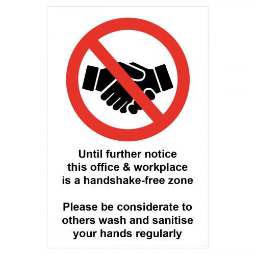 Sign 'Handshake free zone' 200 x 300mm Self Adhesive