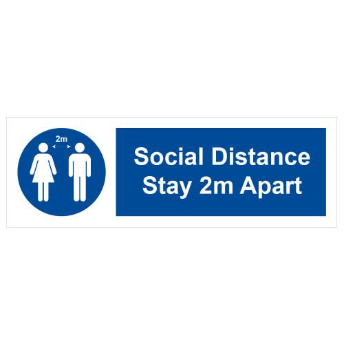 Sign 'Social Distance 2m apart' 300 x 100mm Rigid