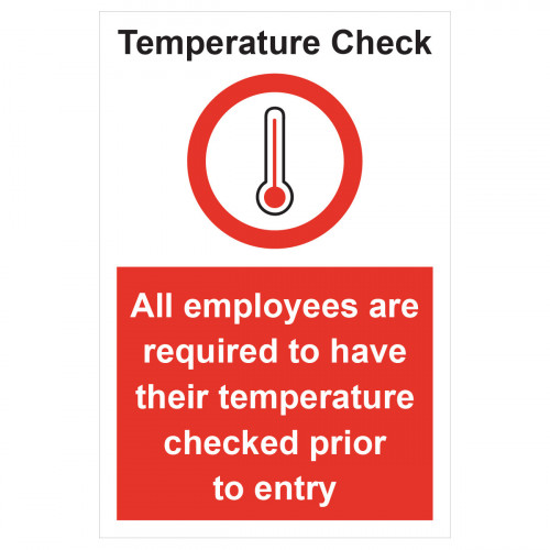 Sign 'Temperature check mandatory' 200 x 300mm Rigid