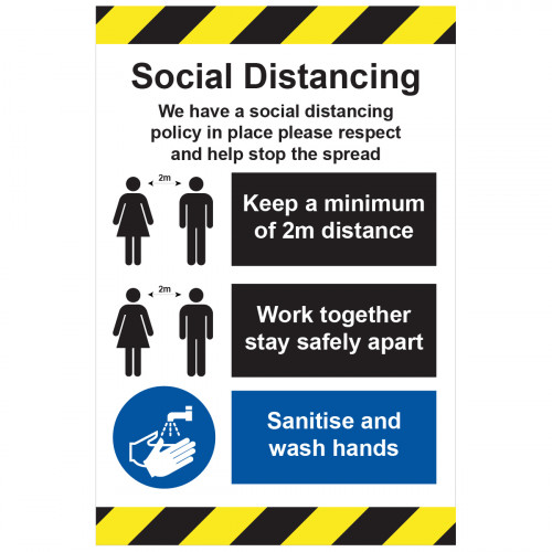 Sign 'Social Distance policy in place' 400 x 600mm Rigid