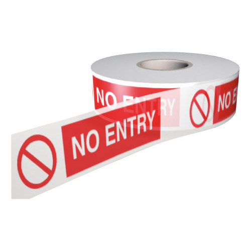 Barrier tape Printed 'No Entry' Red/White  75mm x 250m