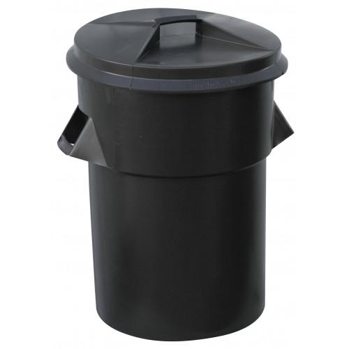 Dustbin and Lid Black Plastic 94L