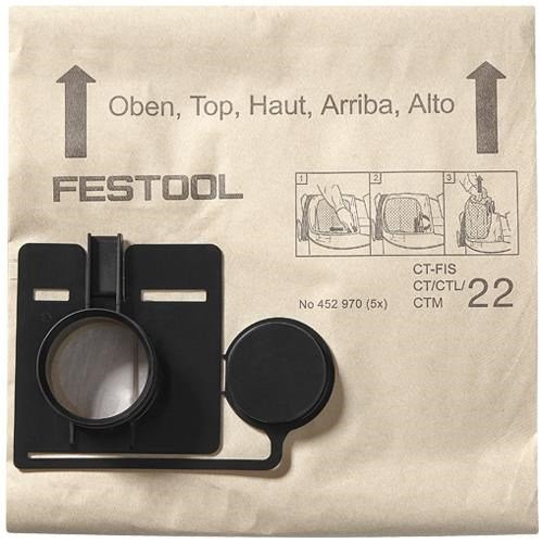 Festool 452970 CT22 Dust Bags 5/pk