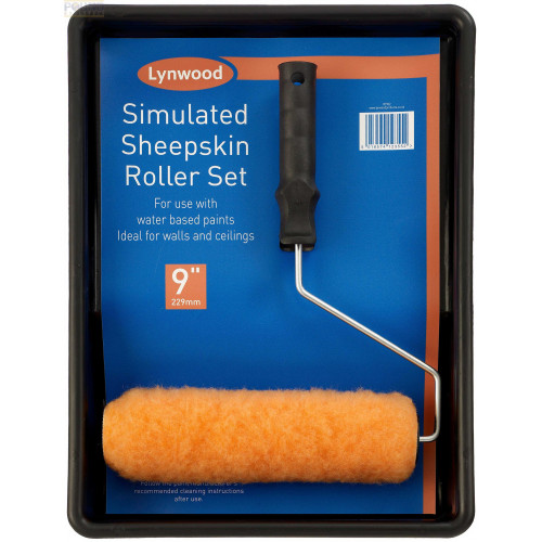 """Paint Roller and Tray, 9"""" Simulated Sheepskin"""