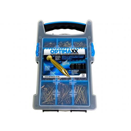 Optimaxx 12 Compartment Screw Case, Inc 700 Screws + 2 x Wera Posi Bits