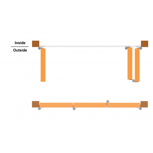 Tommafold 90 Outward Opening Bifold Kit, 1 Left + 2 Right, Up to 2.15m height, Black