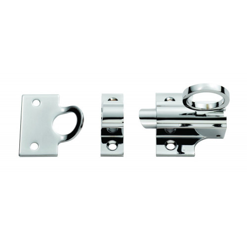 Fanlight Catch With Ring, Polished Chrome